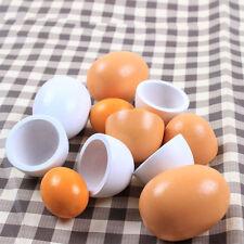 6pcs Wooden Easter Eggs Yolk Pretend Children Play Kitchen Game Food Toys Set