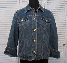 Ladies Petite Small Coldwater Creek Blue Denim Stretch Jean Jacket Flap Pockets