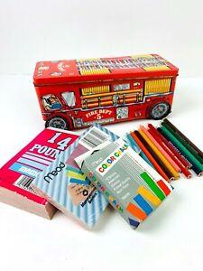 Art Set in Tin Box Fire Truck Shape Metal Wheels Colored Pencils Chalk Paper