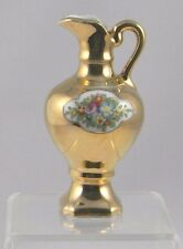 Antique Miniature Pitcher Gold Glazed Enamel Floral