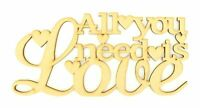 All you need is love Wooden MDF Craft Quote Sign Gift with Heart Shapes - A341
