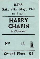 Harry Chapin - ULTRA RARE ORIGINAL Concert Ticket - Dublin Ireland 27th May 1978
