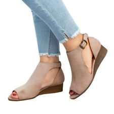 LADIES WOMENS WEDGE SHOES LOW HEELS SUMMER OPEN TOE PUMPS SANDALS BOOTS CHEAP