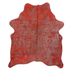 Super Soft Genuine Cow Hide Skin Metallic Red Finish Super Size 5ft x 6ft Approx