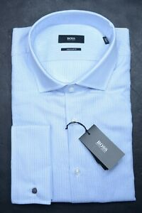 Hugo Boss Men's Gardner Reg Fit French Cuff Canclini Cotton Dress Shirt 42 16.5