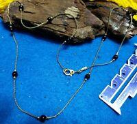 """Vintage Monet black bead gold tone 18"""" Necklace"""