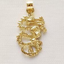 14k Yellow Gold DRAGON 3D Pendant / Charm, Made in USA