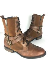Hush Puppies Women's Brown Suede & Leather Distressed Hiking Boots Mid-Calf Sz 9