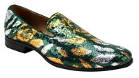 Men's Dress Formal Fancy Smoker Shoes AFTER MIDNIGHT Green/Gold Slip On Loafers