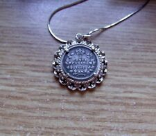 "1907 Canada 5 Cents Coin Pendant in Silver Lace + 20"" .925 Silver Italy Necklace"