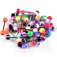20Pcs Acrylic Tongue Tounge Nipple Ear Rings Bars Barbell Body Piercing Jewelry