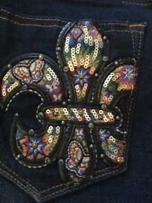 "Miss Me 29""x30"" Skinny Jeans NWT Fleur Sure Mid Rise Dark Blue Sequins Whisker"
