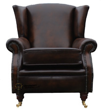 Southwold Fireside High Back Wing Armchair Antique Brown Leather
