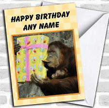Orangutan And Baby Birthday Customised Card