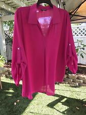 Cha Cha Vente Woman 3X Magenta Pink Collared Split Neck Semi-Sheer Tunic Top NWT