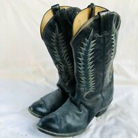 Vintage Tony Lama Made in USA Black Leather Cowboy Western Boots 10.5EE