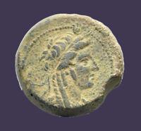 Archaios   Seleukid Empire Antiochos IV Epiphanes Bust of Isis Eagle Thunde AE27