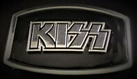 KISS Belt Buckle -Chrome/Blk - Gene Simmons Ace Frehley Paul Stanley Peter Criss