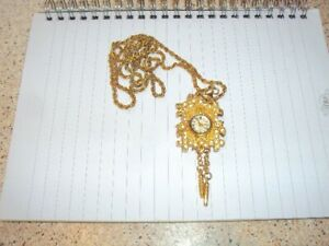 Ladies pendant watch, with 36cm chain, not working