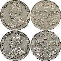 1931 & 1932 Canada Five Cents, KM# 29, Lot of 2 Lustrous AU Coins