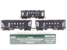 HO Scale KATO #38-0205 WAB Wabash ACF 70 Ton Open Side 2-Bay Hopper 3-Pack