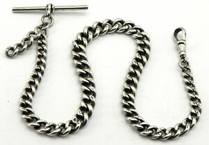 Antique Solid Silver Graduated Albert Pocket Watch Chain, Birmingham 1919.