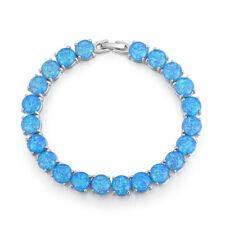 HOT SELL Blue Fire Opal Silver for Women Jewelry Gemstone Chain Bracelet OS400