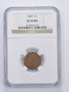 XF45 BN 1869 Indian Head Cent - Graded NGC *6567