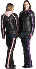 Womens Unik Genuine Leather Motorcycle Jacket, Hooded, Hands Free, Vented Purple