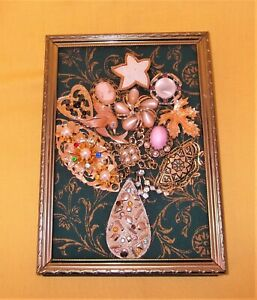 OOAK VINTAGE & CONTEMPORARY COLLAGE JEWELRY ART FRAMED