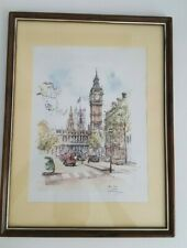 "Big Ben and Trafalgar Square by Jan Korthale Framed and Matted 17"" x 13"""