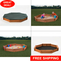 Octagon 6.5 ft. x 7 ft. Sandbox Kit With Cover   Wooden Play Cedar Kids Outdoor