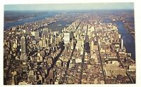 New York City NY Aerial View Manhattan Bird's Eye View Vintage Postcard