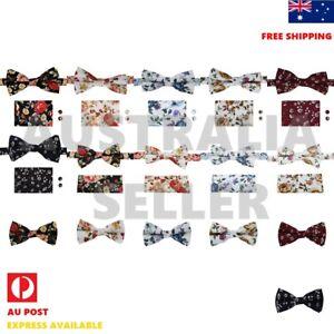 Men's Bow Tie Set Cotton Floral Bowtie Set Hanky Cufflinks Men D.Smith CCOA/P/Q9