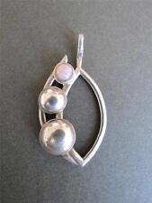 Vintage Modernist Silver Fiery Opal Danish Large Pendant