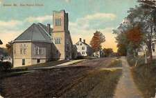 Brewer Maine birds eye view showing new Baptist Church antique pc Y13376