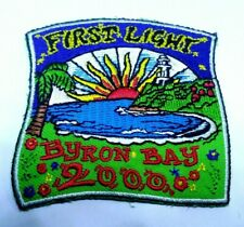 VINTAGE EMBROIDERED SOUVENIR TRAVEL PATCH / BADGE BYRON BAY FIRST LIGHT 2000