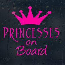 Princesses On Board Pink Crown Car Decal Vinyl Sticker For Window or Bumper
