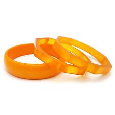 Vintage Lucite Bangle Bracelets Orange Translucent Retro Chunky Set Bangle Stack