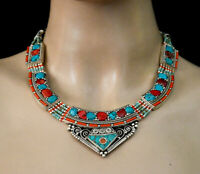 Asian Design Tribal Necklace Sterling silver necklace Turquoise Jewelry ok7