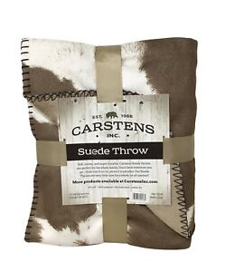 """Carstens Suede Throw Blanket, Wyoming Cow Hide, 54""""x68"""", Faux Shearling Lining"""