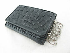Genuine Crocodile Skin Keychains Key Holder Ring Trifold Wallet Black Free Ship