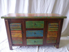 Balinese Timber Cupboard Console Colourful Louvre 2 Door 3 Drawer Dresser