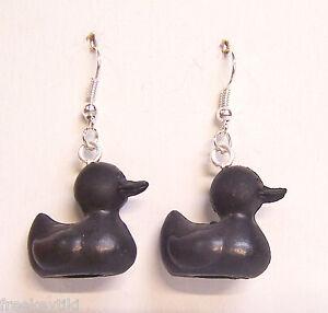 """Mini Tiny Black Rubber Ducky Duck Duckies Pencil Topper 1"""" Dangle Earrings"""
