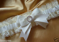 IVORY CREAM WEDDING BRIDAL BRIDE PLAIN GARTER SATIN AND LACE DIAMANTES HEARTS
