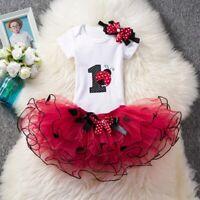 1st Birthday Baby Girl Dress Outfits Ladybug Romper Tutu Headband Sets 9-12Month