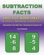 Subtraction Facts Practice Worksheets Arithmetic Workbook with Answers: Reproduc