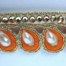 "3 Yards Orange Gold Indian Zari w Stone Saree Lace Border Trim Teardrop 7/8"""