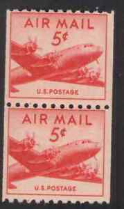 US. C37. 5c, DC-4 Small Plane Coil Pair of 2. MNH. 1948.