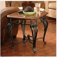 Wood & Metal Side End Table Wrought Iron Scroll Beveled Glass Top Cherry Black